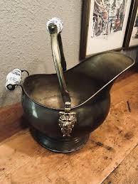 vtg copper brass fireplace coal scuttle ash bucket w delft handles lion head