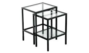 metal and glass side table black metal glass top side end nesting tables with shelf set