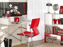 bright home office design with red accents bright home office design