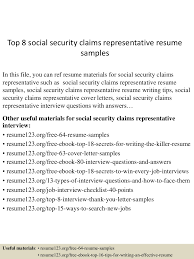 Social Security Claims Representative Sample Resume top224socialsecurityclaimsrepresentativeresumesamples2245052722424322432lva224app62249224thumbnail24jpgcb=2242432737553 1