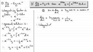 diffeial equations integrating factor type examples examsolutions maths tutorials you