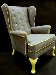 Cedrick Wing back arm chair in grey boiled wool by katepritchard, . such a fun  chair