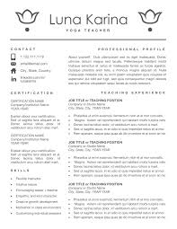 Yoga Resume Cv Template For Ms Word Format Resumes Teacher Instant