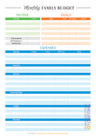 budget templets download printable colored family budget template pdf