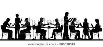 separate people. vector silhouette illustration of people dining in a busy restaurant with all figures as separate objects