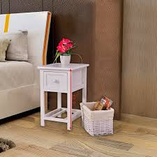 Costway Night Stand 2 Layer 1 Drawer Bedside End Table Organizer Bedroom  Wood WBasket