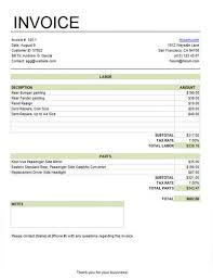 Template For Invoice For Services Basic Service Invoice For Labor And Parts With Tax Excel Invoice