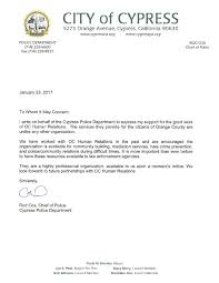 Letter Of Support Cypress Police Department Oc Human