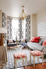 Bright Coral Velvet Fabric look Toronto Transitional Living Room Decorators  with bamboo bay window beige table cloth blue and red blue and white  curtains ...