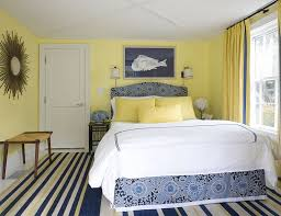 View in gallery Lemon yellow and beautiful blue in the stylish bedroom  [From: Willey Design]