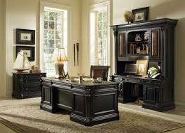 telluride computer credenza with hutch in distressed black finish by furniture hf 370 10 467