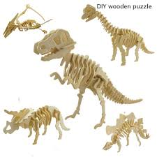 diy 3d wooden car dinosaur puzzle game kids natural color toy model building