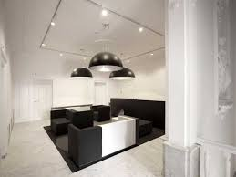 combined office interiors. Industrial Bowl Ceiling Lighting Ideas Combined With Track For Modern Black And White. Interior Design OfficesInterior Office Interiors