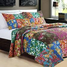 bohemian bedspread cotton reversible bedding set queen size patchwork quilt multi style sheet sets