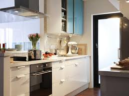 Kitchen:Pretty Tiny Kitchen Storage Idea With Glass Door Cabinet And Modern  Hood Beautiful Small