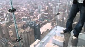 glass floor on the skydeck of willis tower chicago