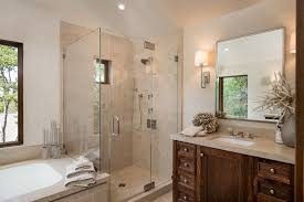 Glass enclosed showers bathroom rustic with slanted ceiling wall mounted  mirror