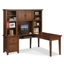 furniture shaped desks home office. Home Office Furniture - Morgan L-Shaped Desk With Hutch Brown. Hover To Zoom Shaped Desks