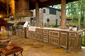 set cabinet full mini summer: rustic outdoor kitchen ideas unfinished brown wooden kitchen cabinets storage white granite kitchen countertop small