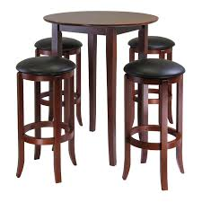 fiona round 5pc high pub table set with pvc stools 94581
