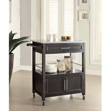 Granite Top Kitchen Cameron Kitchen Cart With Granite Top Black Finish Walmartcom