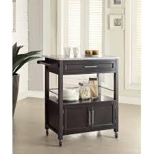 linon cameron kitchen cart with granite top 36 inches tall black finish com
