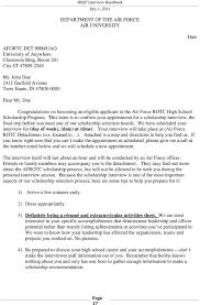 conducting air force rotc high school scholarship program this letter is to confirm your appointment for a scholarship interview the final step before