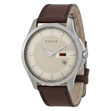 gucci g timeless ivory dial brown leather strap mens watch zoom