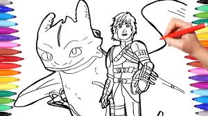 Fans will be thrilled when hiccup discovers toothless isn't the only night fury. Dragon Trainer 3 Coloring Pages Watch How To Draw Hiccup Toothless How To Train Your Dragon Youtube