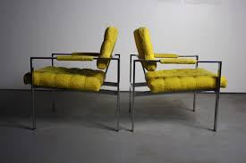 milo baughman furniture. Pair Of Tagged Milo Baughman For Thayer Coggin Chrome Lounge Chairs In Tufted Canary Furniture