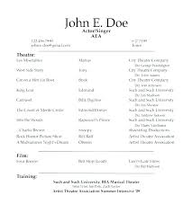 Theatre Resume Template Simple Musical Theatre Resume Template Word Acting Daily Actor Theater R