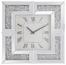elegant modern 20 square crystal wall clock silver crystal contemporary wall clocks by better living