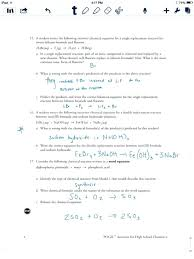 parts of a chemical reaction types reactions and equations writing worksheet answers