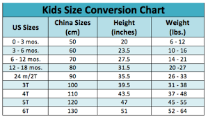 Us Size Chart To China Sizing Chart Glitter Gold Boutique Kids