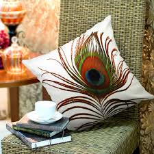 Decorative Pillows With Feather Design Interesting Elegant Decorative Throw Pillow Cover Peacock Feathers Design On