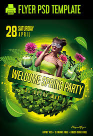 Green Party Flyer Welcome Spring Party Flyer Psd Template