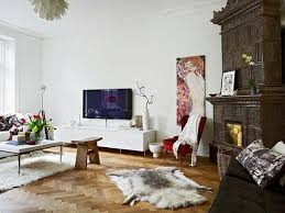 Modern interior design with antique tiled stove