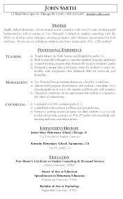Teacher Objective Resume Resume For Elementary Teacher Emelcotest Com