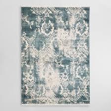victoria blue ivory distressed area rug