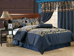 classic bedroom with navy blue damask comforter sets queen and coastal table lamp design