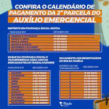 Calendário de pagamento da 2ª parcela do auxílio emergencial – Péricles  Régis Vereador
