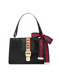 gucci black sylvie leather shoulder bag
