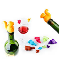 Wine Bottle Cork Size Chart Us 2 37 39 Off 6pcs Wine Glass Marker Cup Recognizer Drinking Stopper Wine Cork Plug Silicone Squirrel Wine Bottle Stopper Party Tols In Wine