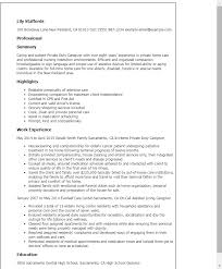 Sample Resume for Caregiver private duty caregiver