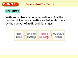 solution standardized test practice write and solve a two step equation to find the number