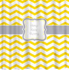 personalized chevron curtains shown in yellow for shower stall