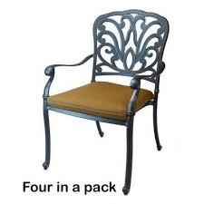 armless patio dining chairs. hampton cast aluminum patio dining chair with sunbrella canvas teak cushions (4-pack) armless chairs