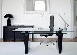 black office table. Awesome Modern Office Desk Idea With Glass Top Black Minimalist Best Cool Design Homemade Diy Comfy Computer Photos Table L