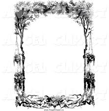 vintage black frame. Clip Art Of A Vintage Black And White Frame Cherubs Hanging Flowers Trees G