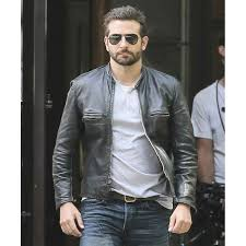 bradley cooper sports black leather biker jacket zoom bradley